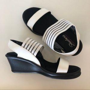 Skechers White Black Cali Rumbler Wedg Sandals 7.5